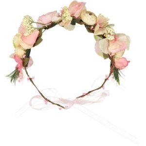 couronne de fleurs roses et blanche cheveux mariage